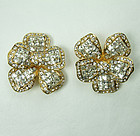 Signed Jarin Brilliant Crystal Strass Flower Form Clip Earrings